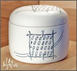 Porcelain box , slip inlay.