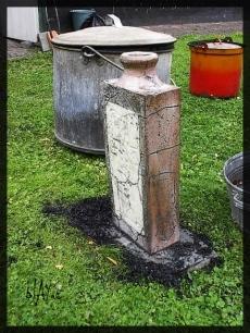 Large ceramic bottle, raku.