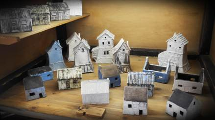 Houses with white glaze and some raku.