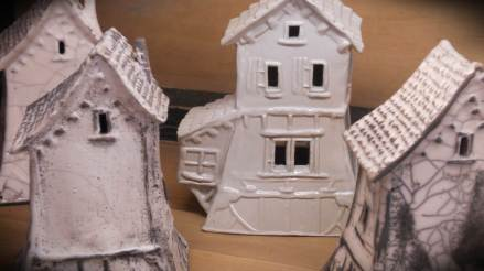 These houses are also made by the above lino cut method.