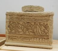 Ceramic box.Slab roller and large imprints.