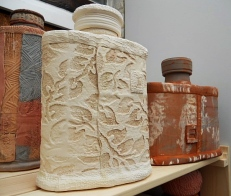 Different bottle types made with slab roller.