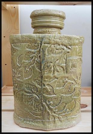 A ceramic bottle. Cone 6.