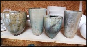 Collection of raku pots by Veronique.