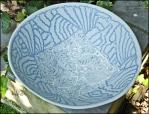 Slip inlay on large bowl shape.
