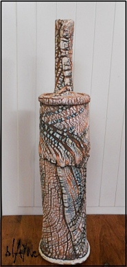 Torn clay ceramic bottle.