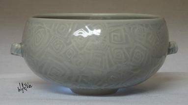 Celadon cone 6. on porcelain mix.
