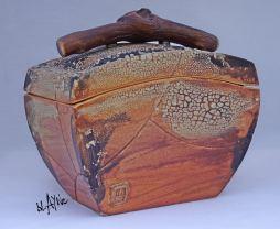 Ceramic box, Terra sigillata and crawl glazes.