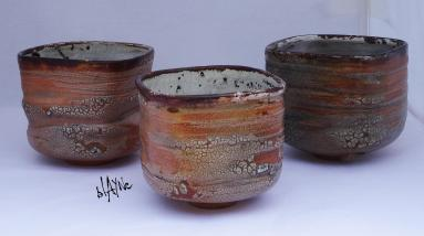 Ceramic tea bowls. Turned on kickwheel and shaped.