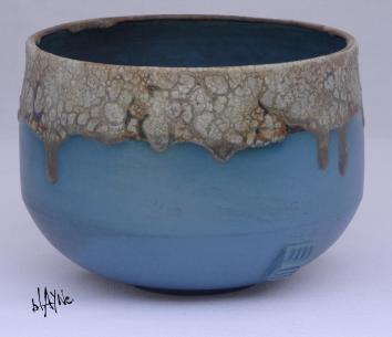 Ceramic pot, blue Terra Sigillata.