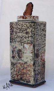 Large ceramic Urn, Laser decals, stamps and slip in lay.