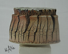 Torn clay tea bowl.