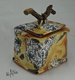 Ceramic box.Mixed media