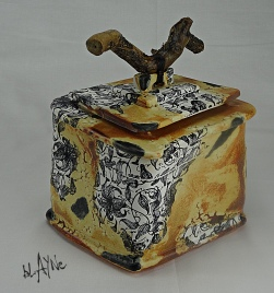 Ceramic box.Mixed media