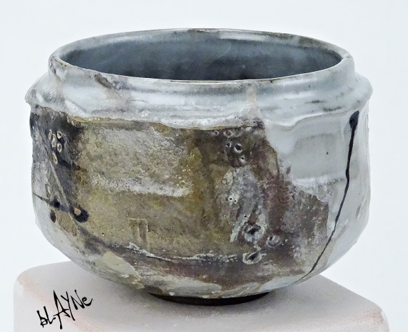 Stoneware clay with shino glaze and carbon trap. Wood fire 1230c.