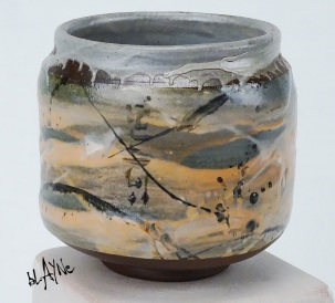 Stoneware clay with two colour pigments mixed in.